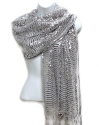 SILVER SEQUIN SHAWL WRAP SCARF Sparkly Wave Formal Party ...