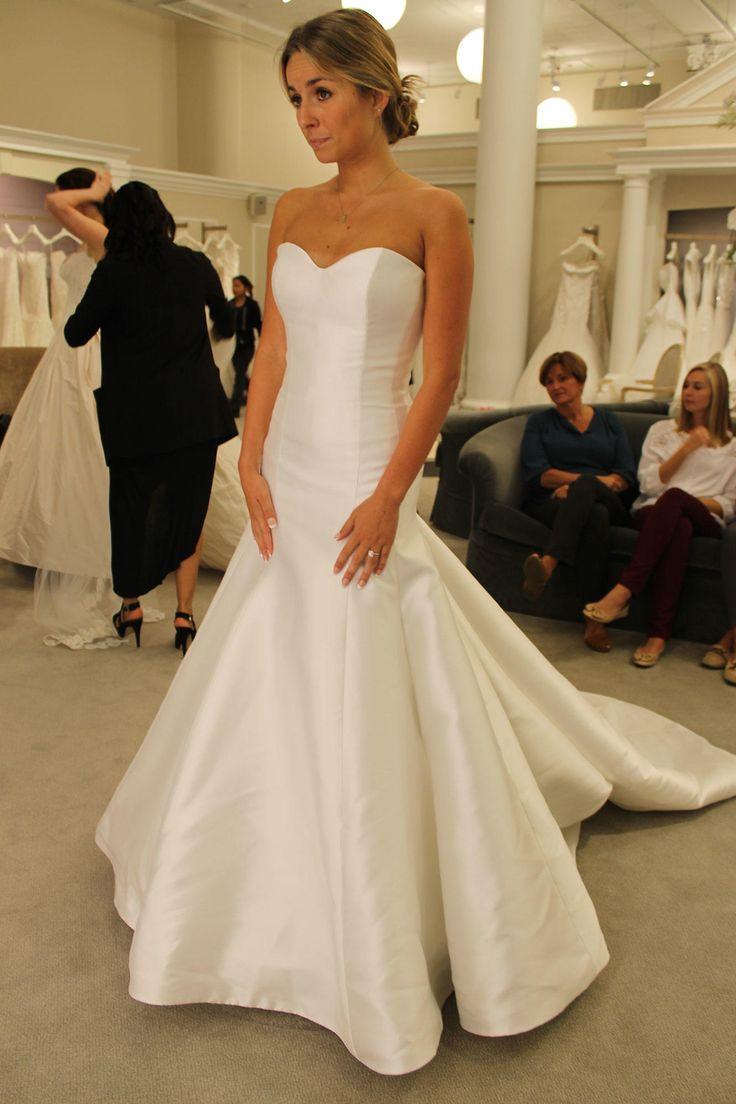dramatic wedding dresses trumpet style wedding dress Seaosn 14 featured Dress Augusta Jones Satin Trumpet Strapless Dramatic train
