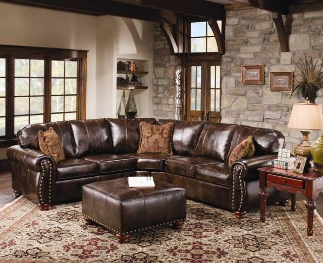 World's Best Sofas Rustic Leather Sectional Sofa With Tables And Carpets