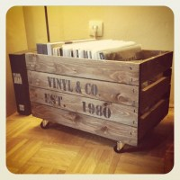 selfmade vinyl-storage: wooden crate on wheels with ...