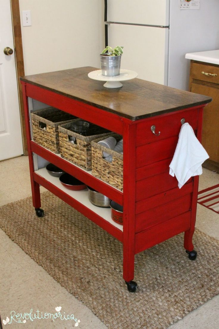 Red Painted Furniture Red Kitchen Table Repurposed Dresser Into Kitchen Island With General Finishes Holiday Red