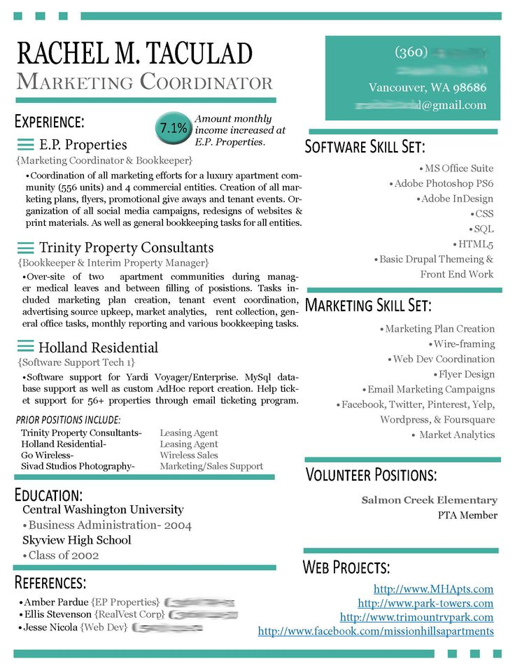 resumes for marketing professionals