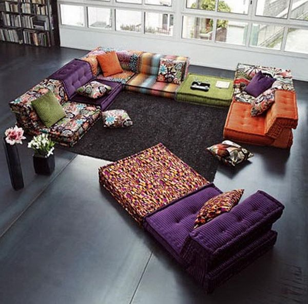 Snuggling On Sofa Large Moroccan Tufted Floor Pillows | Sitting Room Ideas