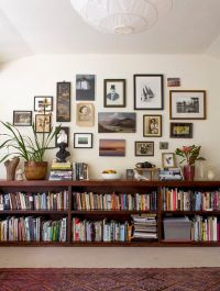 Floating bookshelves, a gallery wall and eclectic ...