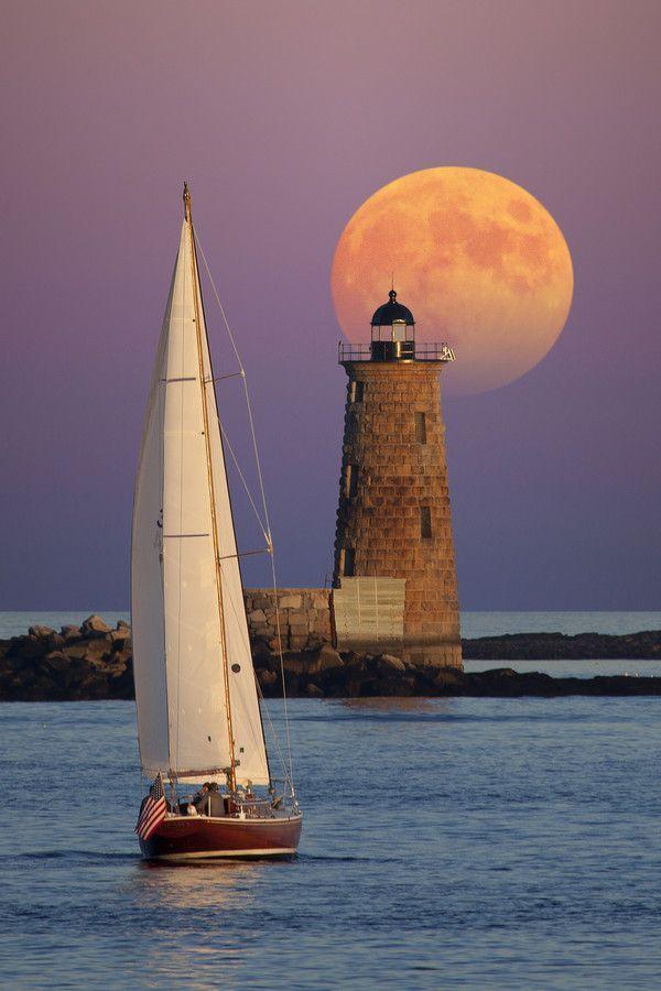 Sailboat Lighthouse Moon Moonshine Moonlight