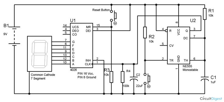 7 segment counter circuit