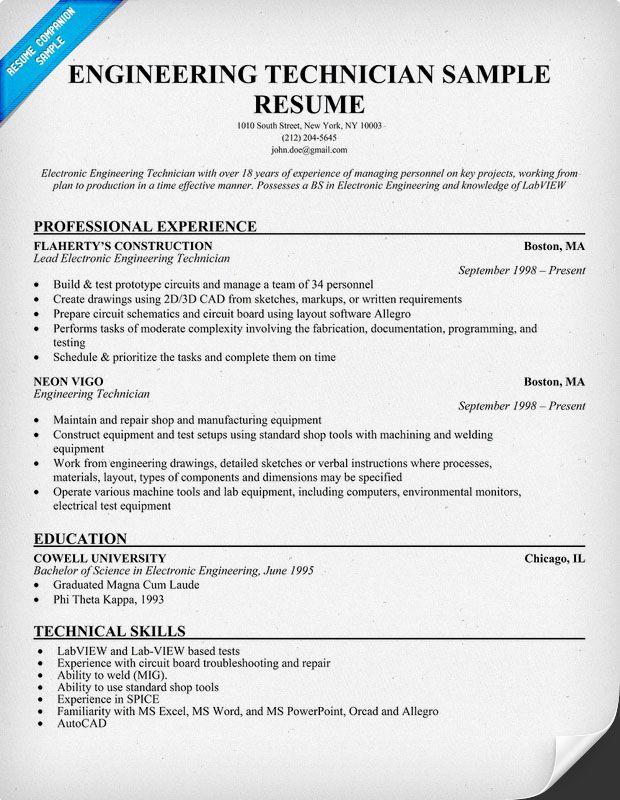 engineering technician resume examples