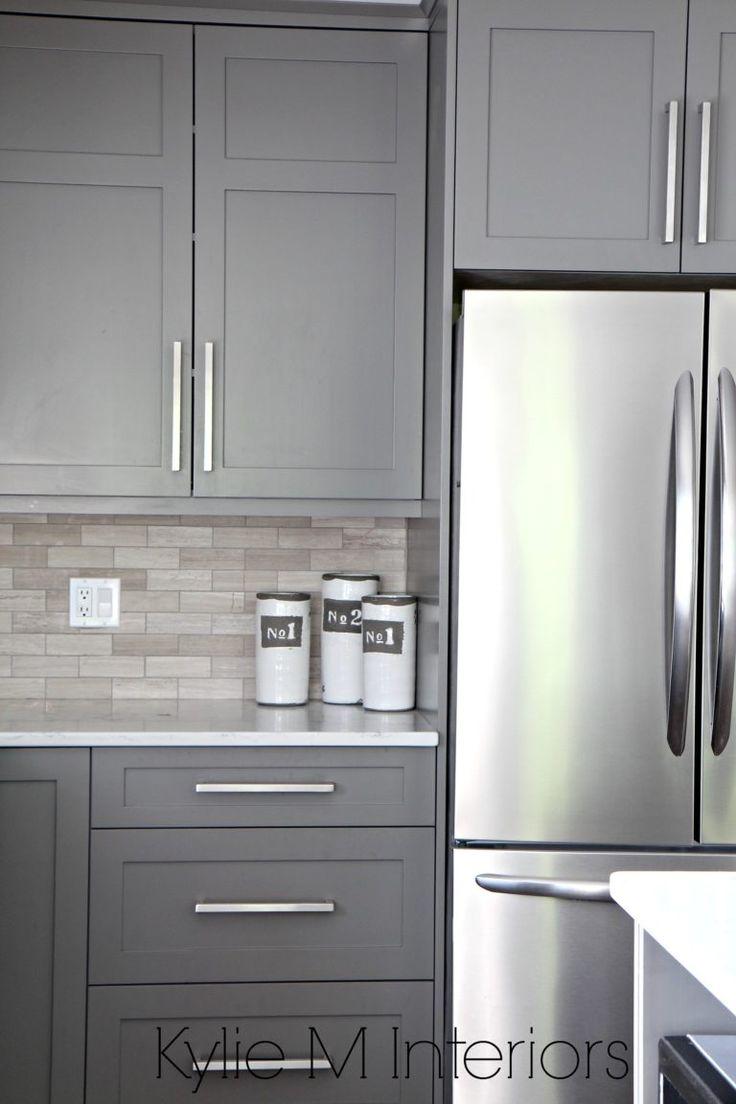 benjamin moore kitchen gray kitchen cabinets Kitchen cabinets painted Benjamin Moore Amherst Gray driftwood marble backsplash with stainless steel Design