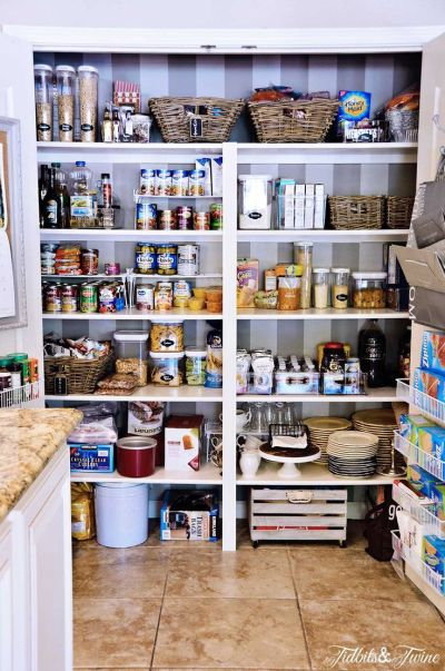 My Pantry Makeover {Before& After}   Shelves, Wallpapers and Wheels