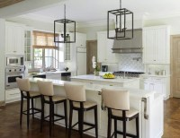 White kitchen high chairs long kitchen island | Kitchens ...