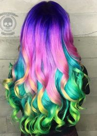 Purple pink rainbow dyed hair color inspiration ...
