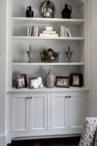 Shelves over cabinet next to fireplace | PinPoint