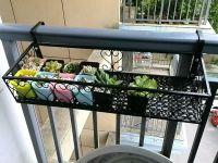 Wrought iron railing fence flower pots hanging rack rack ...