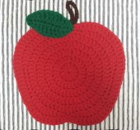 Apple Potholder Crochet Red Handmade hot pad by ...