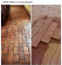 2x4 faux brick floor with wood blocks! Wooden blocks for ...