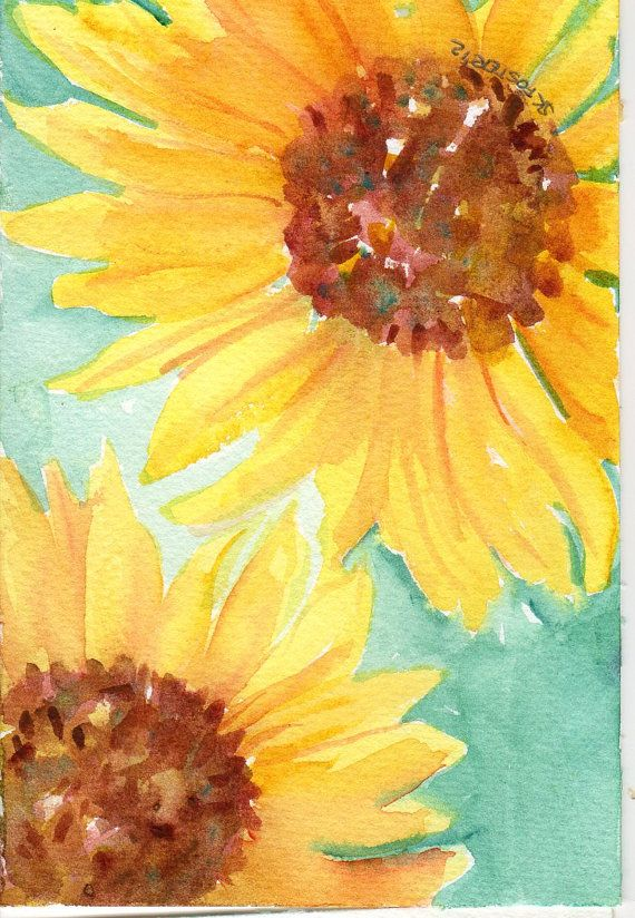 Fall Sunflowers Wallpaper Sunflowers Watercolor Painting Original 8 X 10 Flower