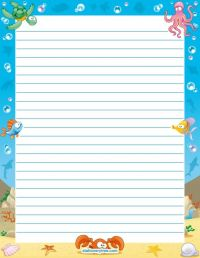 Printable ocean stationery and writing paper. Multiple