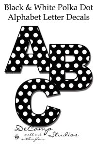 Black and White Polka Dot Alphabet Letter wall decals for ...
