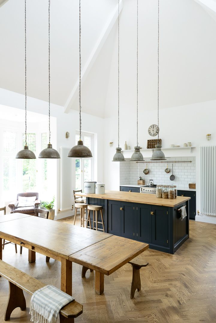 This Lovely Big Kitchen In Kent Mixes Vintage Pendant Lights