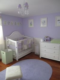 Purple and white nursery with green accent color | Nursery ...