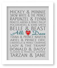Disney Famous Couples Print, Couples Art, Personalized ...