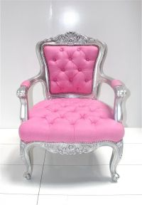 Silver/Pink Tufted Chair | Playing House | Pinterest ...