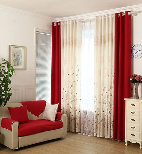 Bright Red Curtains Bedroom