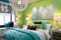 Lime green and turquoise bedroom. BM #733 and BM # 417 ...
