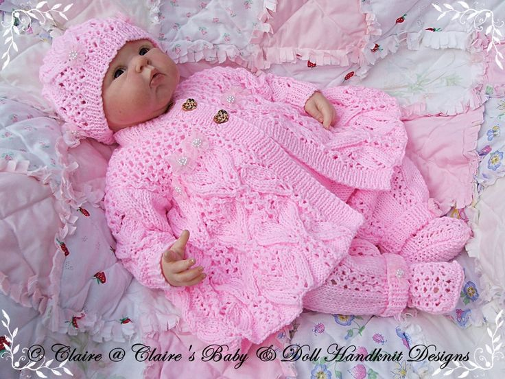 "Newborn Knitted Pram Suit Lacy Winter Pram Set 16 22"" Doll Preemie 3m Baby Pram"