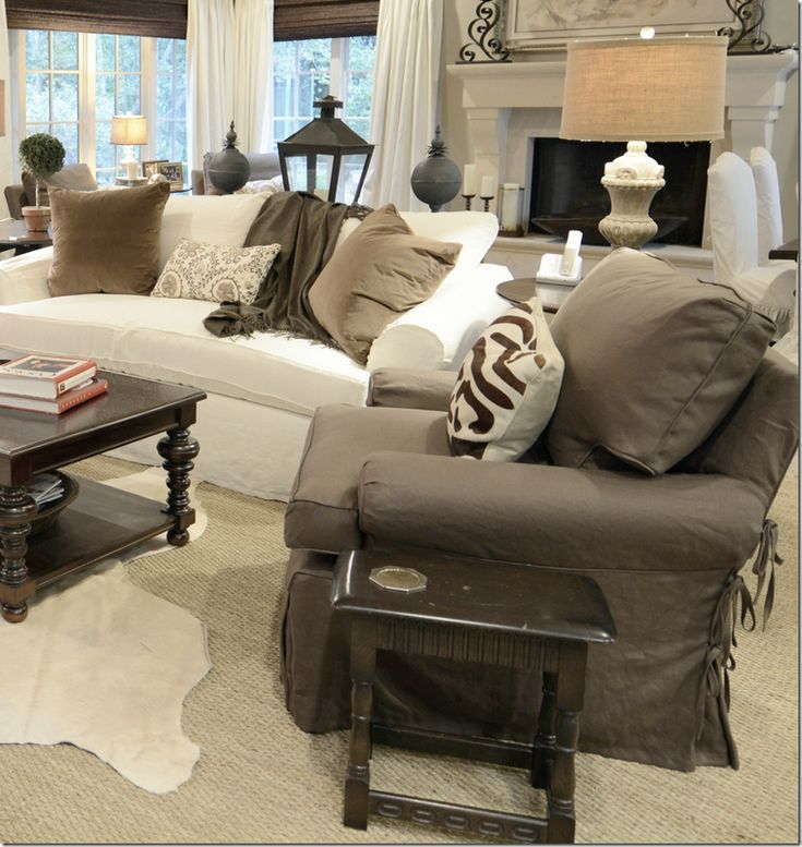 Example Of Mixing White Couches With Gray Brown Black