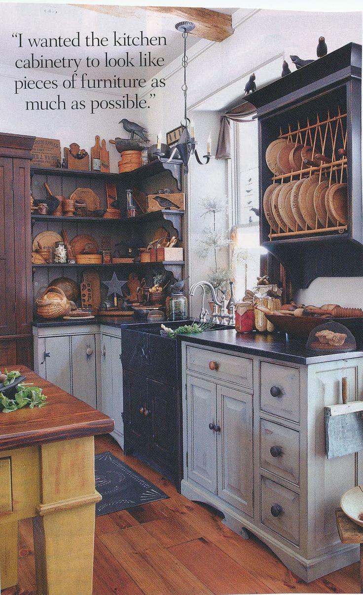 primitive kitchens colonial kitchen sink Wonderful old country prim kitchen