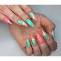 Coral and mint stiletto nails spring nail art 2016 ...
