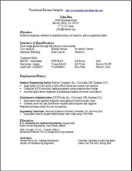 functional resume references