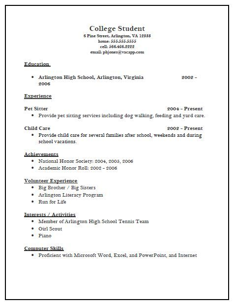College application resume objective examples