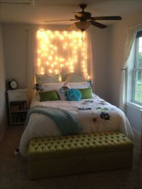 DIY light headboard! Just some shear curtains with white