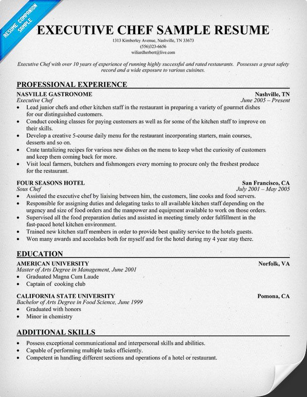 sample objective for culinary resume
