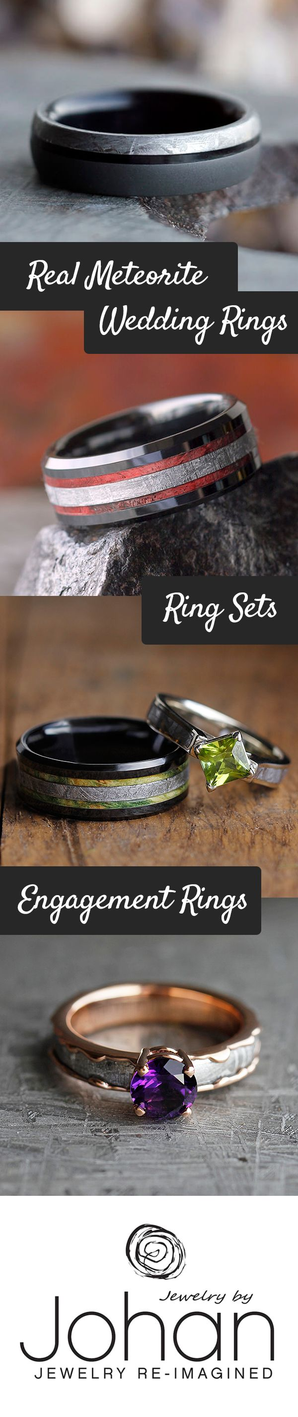 handmade wedding rings handmade wedding rings Handmade wedding rings created with genuine meteorite and combined with other unique materials like wood