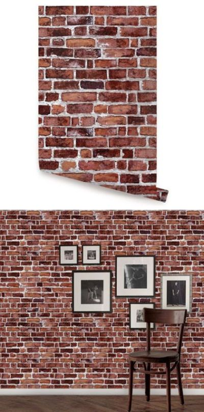 Brick Red Peel and Stick Wallpaper - Wall Sticker Outlet   Peel And Stick Wallpaper   Pinterest ...