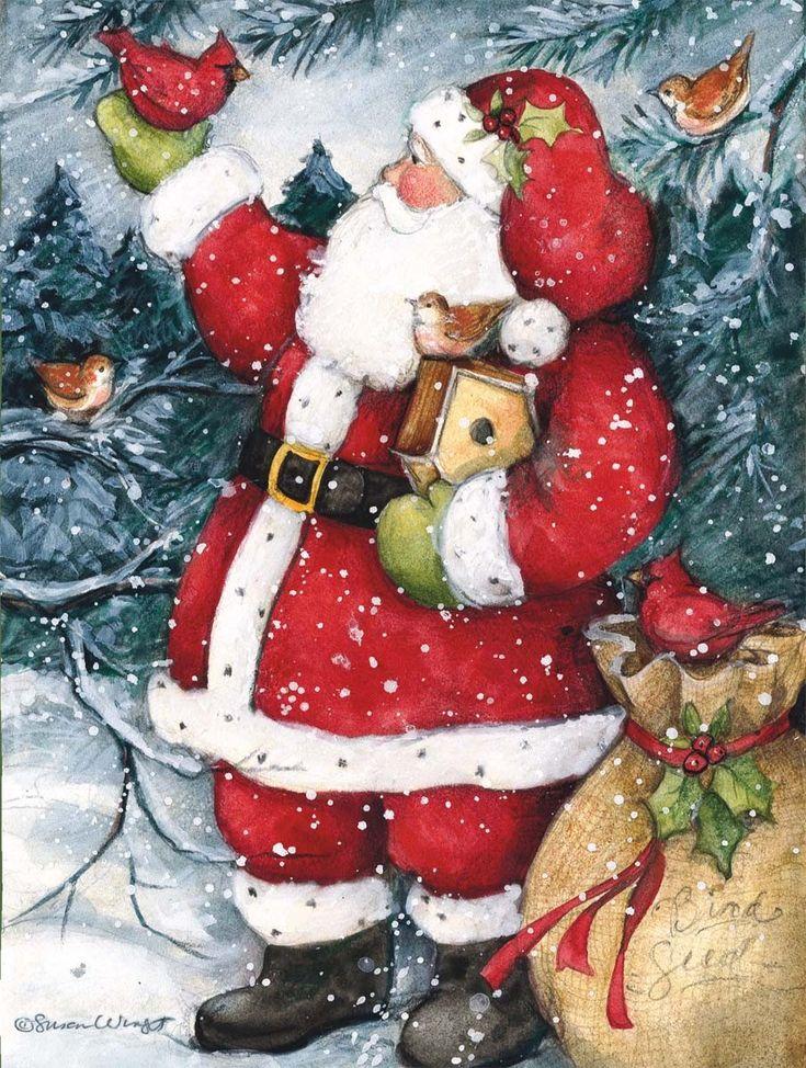 Cute Merry Christmas Wallpaper Dogs Susan Winget Snowy Santa Christmas Cards 906x1200