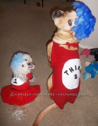 Woman's Cat in the Hat Costume with Pet Dogs Thing 1 Thing ...