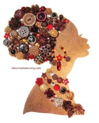 AFRICAN LADY #16 8x10 Button Art/white canvas, Button ...