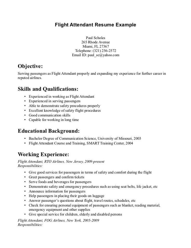 Cv Resume Example Executive Chef Acesta Jobinfo Flight Attendant Resume Monday Resume Pinterest