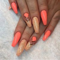 Best 20+ Coral Nails Gold ideas on Pinterest   Coral nails ...