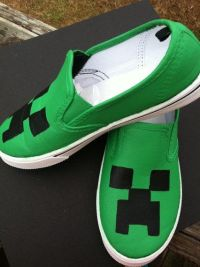 Minecraft shoes/ canvas/ creeper/ slipon/big boys/ teenage ...