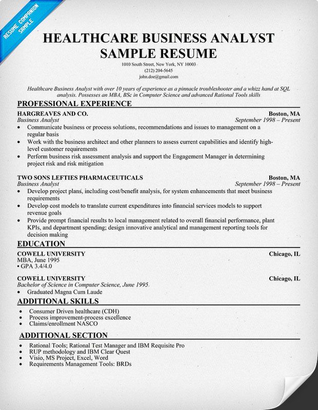example of business analyst resume 28052017 - Test Analyst Sample Resume