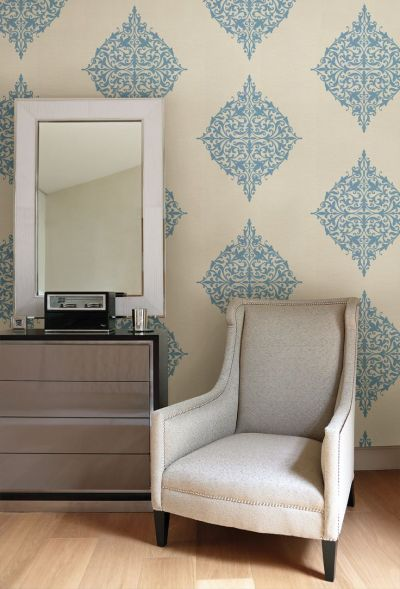 turquoise feature wall with modern medallion wallpaper living room decor idea | Home | Pinterest ...