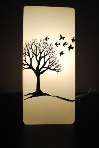 Winter Tree and Birds Silhouette Lamp by NatureAura on ...