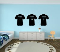 Personalised Football T Shirt Vinyl Wall Sticker Boys ...
