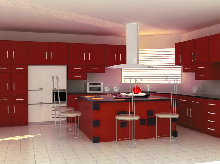 Modular Kitchen Design Red And White Colour Modular Kitchen Design, Modern Dining Table, Chair