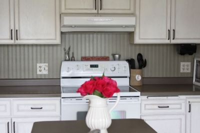 Cheap backsplash - $12 roll of paintable beadboard wallpaper   home   Pinterest   Countertops ...